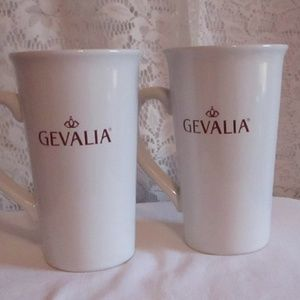 GEVALIA KAFFE Coffee Mug Lot of 2 White Stoneware